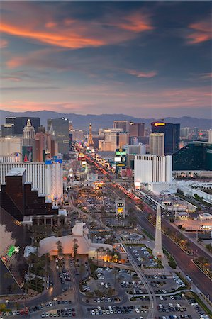 Elevated view of the hotels and casinos along The Strip at dusk, Las Vegas, Nevada, United States of America, North America Stock Photo - Rights-Managed, Code: 841-06343174