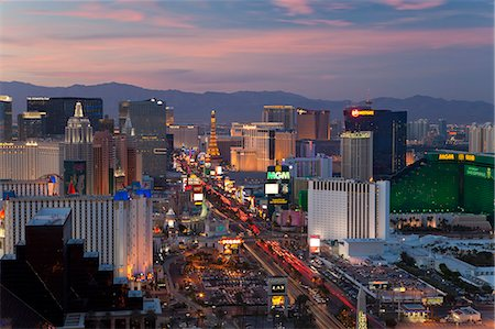 Elevated view of the hotels and casinos along The Strip at dusk, Las Vegas, Nevada, United States of America, North America Stock Photo - Rights-Managed, Code: 841-06343175