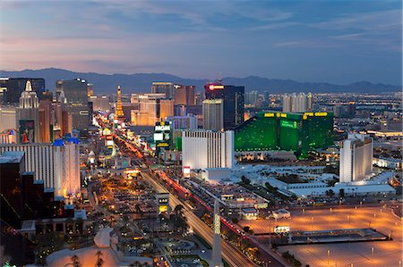 Elevated view of the hotels and casinos along The Strip at dusk, Las Vegas, Nevada, United States of America, North America Stock Photo - Rights-Managed, Code: 841-06343176