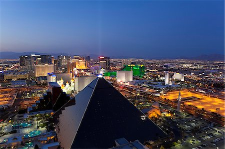 Elevated view of casinos on The Strip, Las Vegas, Nevada, United States of America, North America Stock Photo - Rights-Managed, Code: 841-06343170