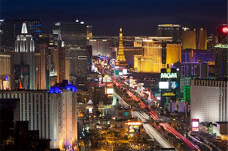 Elevated view of the hotels and casinos along The Strip at dusk, Las Vegas, Nevada, United States of America, North America Stock Photo - Rights-Managed, Code: 841-06343195