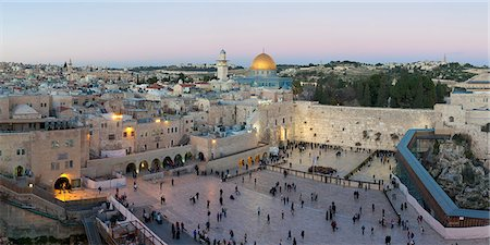 Jewish Quarter of the Western Wall Plaza, with people praying at the Wailing Wall, Old City, UNESCO World Heritage Site, Jerusalem, Israel, Middle East Stock Photo - Rights-Managed, Code: 841-06343258