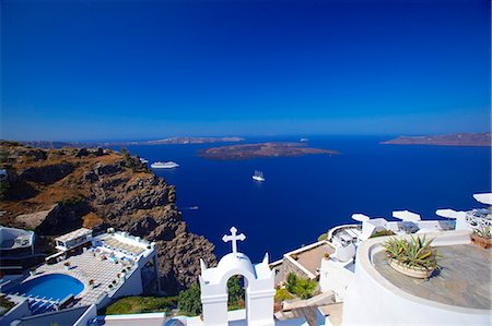 View of caldera from Imerovigli, Santorini, Cyclades, Greek Islands, Greece, Europe Stock Photo - Rights-Managed, Code: 841-06343297