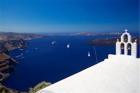 View of caldera from Imerovigli, Santorini, Cyclades, Greek Islands, Greece, Europe Stock Photo - Rights-Managed, Code: 841-06343299
