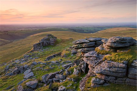 dartmoor national park - Granite outcrops at Black Tor on a summer evening, Dartmoor National Park, Devon, England, United Kingdom, Europe Stock Photo - Rights-Managed, Code: 841-06343503