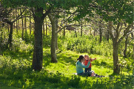 quaint - Young mother and inquisitive one year old toddler son in a woodland, Cutteridge Wood, Devon, England, United Kingdom, Europe Stock Photo - Rights-Managed, Code: 841-06343596