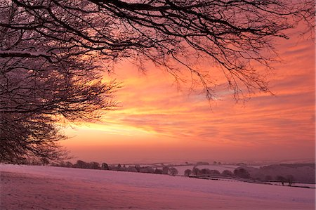 snow - Spectacular dawn sky above snow covered countryside, Exmoor, Somerset, England, United Kingdom, Europe Stock Photo - Rights-Managed, Code: 841-06343621
