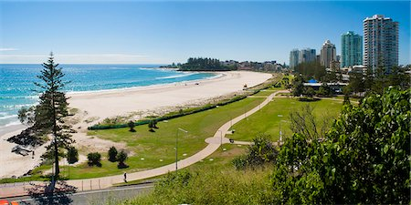 queensland - Coolangatta Beach and town panoramic, Gold Coast, Queensland, Australia, Pacifc Stock Photo - Rights-Managed, Code: 841-06444961