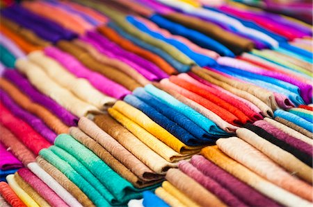 silk - Traditional silk scarves of northern Thailand at the night market, Chiang Rai, Thailand, Southeast Asia, Asia Stock Photo - Rights-Managed, Code: 841-06445021