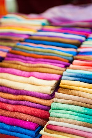 silk - Traditional silk scarves of northern Thailand at the night market, Chiang Rai, Thailand, Southeast Asia, Asia Stock Photo - Rights-Managed, Code: 841-06445022