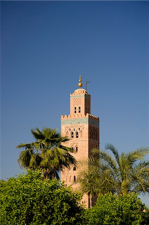 The minaret of the Koutoubia Mosque surrounded by palm trees in Marrakech, Morocco, North Africa, Africa Stock Photo - Rights-Managed, Code: 841-06445509