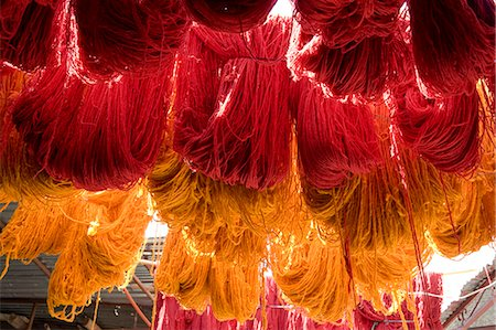 fabric - Brightly coloured wool hanging to dry in the dyers souk, Marrakech, Morocco, North Africa, Africa Stock Photo - Rights-Managed, Code: 841-06445526
