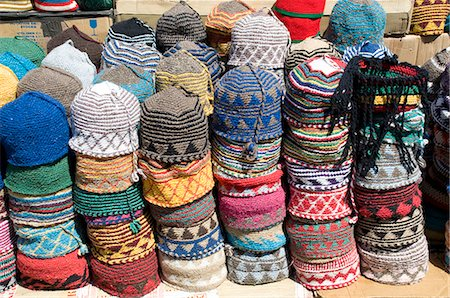 Brightly coloured knitted wool hats for sale in the souk in Marrakech, Morocco, North Africa, Africa Stock Photo - Rights-Managed, Code: 841-06445539