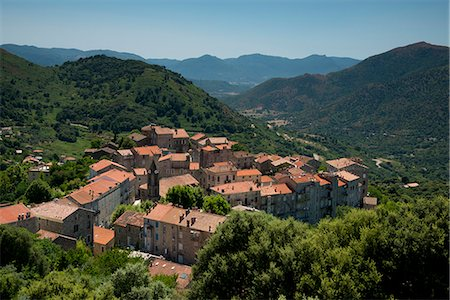 france - An aerial view of  the rooftops of Sainte-Lucie-de-Tallano in the Alta Rocca region of Corsica, France, Europe Stock Photo - Rights-Managed, Code: 841-06445588