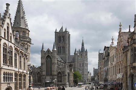 europe - The Old Post Office on the left, St. Nickolas Church and the Belfry beyond, Ghent, Belgium, Europe Stock Photo - Rights-Managed, Code: 841-06446270