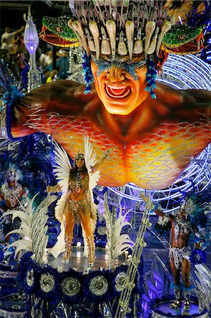 exotic outdoors - Carnival parade at the Sambodrome, Rio de Janeiro, Brazil, South America Stock Photo - Rights-Managed, Code: 841-06446296