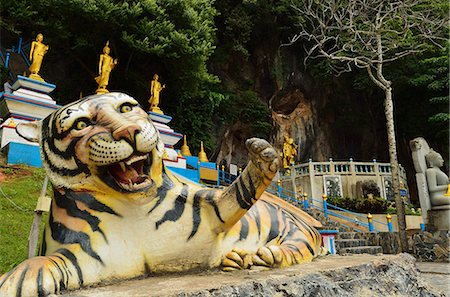 southeast asian - Tiger statue, Tiger Cave Temple (Wat Tham Suea), Krabi Province, Thailand, Southeast Asia, Asia Stock Photo - Rights-Managed, Code: 841-06446657