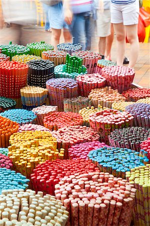 Colourful decorative chopsticks for sale as souvenirs to tourists in Chinatown market, Temple Street, Singapore, Southeast Asia, Asia Stock Photo - Rights-Managed, Code: 841-06447238