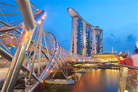 The Helix Bridge and Marina Bay Sands, Marina Bay, Singapore, Southeast Asia, Asia Stock Photo - Rights-Managed, Code: 841-06447241