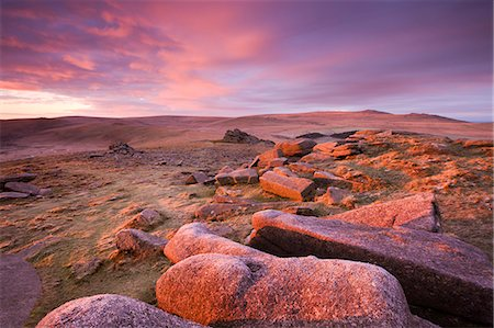 dartmoor national park - Pink dawn sky above Belstone Tor, Dartmoor National Park, Devon, England, United Kingdom, Europe Stock Photo - Rights-Managed, Code: 841-06447454