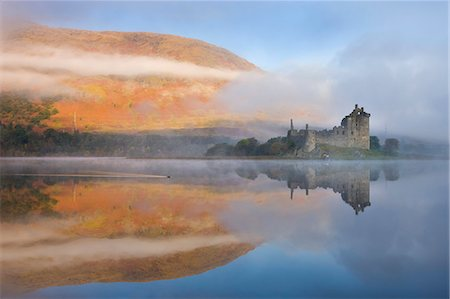 europe - A misty autumn morning beside Loch Awe with views to Kilchurn Castle, Argyll and Bute, Scotland, United Kingdom, Europe Stock Photo - Rights-Managed, Code: 841-06447496