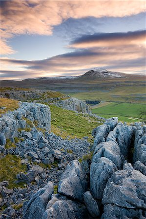 snow capped - Snow capped Ingleborough from the limestone pavements on Twistleton Scar, Yorkshire Dales National Park, North Yorkshire, England, United Kingdom, Europe Stock Photo - Rights-Managed, Code: 841-06447520
