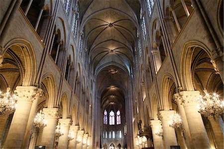Nave, Notre-Dame de Paris cathedral, Paris, France, Europe Stock Photo - Rights-Managed, Code: 841-06448068