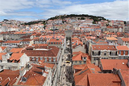 portugal - Castelo Sao Jorge looks over buildings of the central Baixa-Chiado, Baixa and Castelo districts of Lisbon, Portugal, Europe Stock Photo - Rights-Managed, Code: 841-06448411