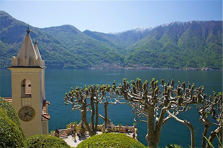 Pruned plane trees and chapel of Villa Balbianello, in spring sunshine, Lenno, Lake Como, Lombardy, Italian Lakes, Italy, Europe Stock Photo - Rights-Managed, Code: 841-06448484
