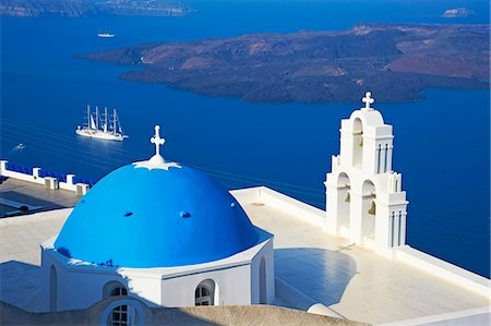 Church with blue dome overlooking the Aegean, Fira, Thira, Santorini, Cyclades, Greek Islands, Greece, Europe Stock Photo - Rights-Managed, Code: 841-06448557