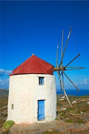 Windmill, Chora, Amorgos, Cyclades, Aegean, Greek Islands, Greece, Europe Stock Photo - Rights-Managed, Code: 841-06448584