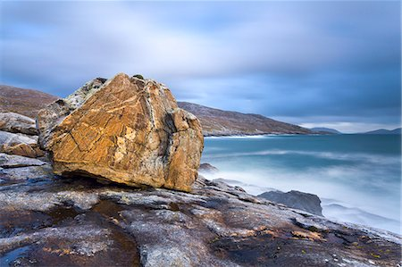 Giant Lewisian gneiss rock on a showery evening at Mealista on the south west coast of Lewis, Isle of Lewis, Outer Hebrides, Scotland, United Kingdom, Europe Stock Photo - Rights-Managed, Code: 841-06449608