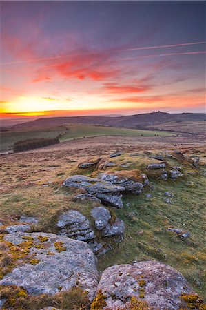 dartmoor national park - A colourful dawn on Chinkwell Tor in Dartmoor National Park, Devon, England, United Kingdom, Europe Stock Photo - Rights-Managed, Code: 841-06449649