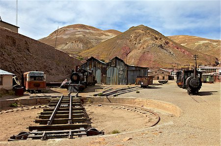 steam engine - The old mining ghost town of Pulacayo, Industrial Heritage Site, famously linked to Butch Cassidy and the Sundance Kid, Bolivia, South America Stock Photo - Rights-Managed, Code: 841-06449706