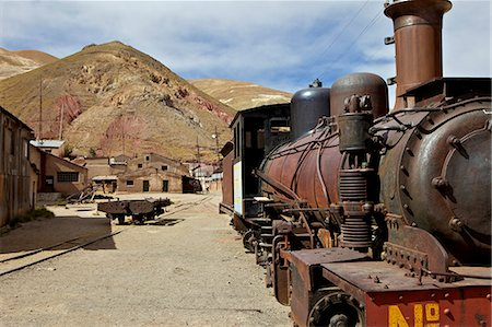 steam engine - The old mining ghost town of Pulacayo, Industrial Heritage Site, famously linked to Butch Cassidy and the Sundance Kid, Bolivia, South America Stock Photo - Rights-Managed, Code: 841-06449703