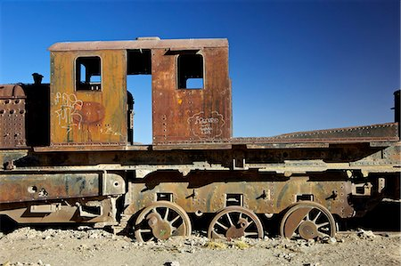 steam engine - Rusting old steam locomotives at the Train cemetery (train graveyard), Uyuni, Southwest, Bolivia, South America Stock Photo - Rights-Managed, Code: 841-06449767