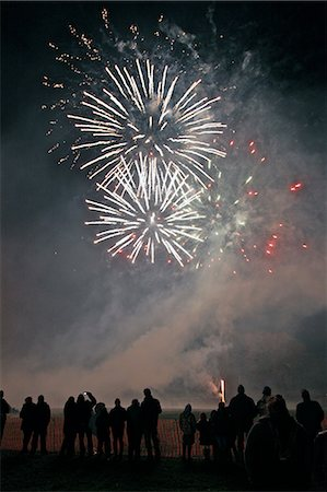 fireworks - Double white burst at the Widecombe-in-the-Moor, Dartmoor, firework display, Devon, England, United Kingdom, Europe Stock Photo - Rights-Managed, Code: 841-06499880