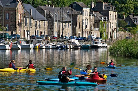 Canoe kayaks on River Rance, Dinan, Brittany, France, Europe Stock Photo - Rights-Managed, Code: 841-06500009