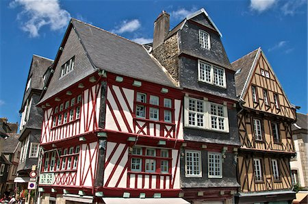 Medieval half timbered houses, old town, Morlaix, Finistere, Brittany, France, Europe Stock Photo - Rights-Managed, Code: 841-06500018