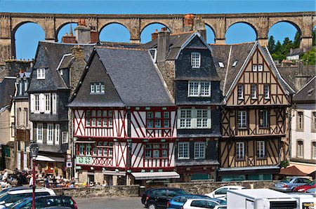 Medieval half timbered houses, with viaduct in the background, old town, Morlaix, Finistere, Brittany, France, Europe Stock Photo - Rights-Managed, Code: 841-06500019