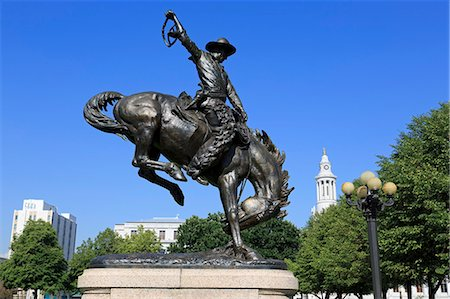 Broncho Buster sculpture in the Civic Center Cultural Complex, Denver, Colorado, United States of America, North America Stock Photo - Rights-Managed, Code: 841-06500908