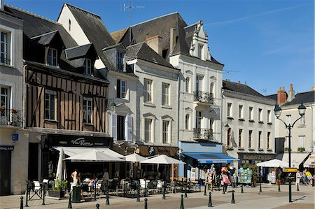 street cafe day - Place Michel Debre, Amboise, UNESCO World Heritage Site, Indre-et-Loire, Centre, France, Europe Stock Photo - Rights-Managed, Code: 841-06501078