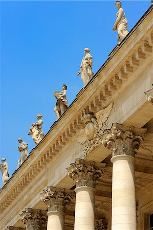 french - Corinthian style columns and statues adorning Le Grand Theatre, Place de la Comedie, Bordeaux, UNESCO World Heritage Site, Gironde, Aquitaine, France, Europe Stock Photo - Rights-Managed, Code: 841-06501071