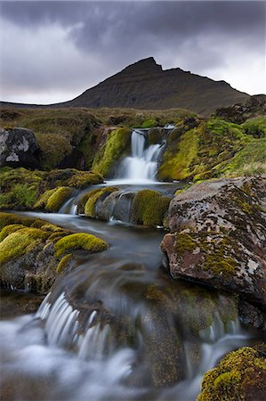 streams scenic nobody - Rocky stream with waterfalls below Slaettaratindur mountain, Eysturoy, Faroe Islands, Denmark, Europe Stock Photo - Rights-Managed, Code: 841-06501333