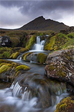streams scenic nobody - Rocky stream with waterfalls below Slaettaratindur mountain, Eysturoy, Faroe Islands, Denmark, Europe Stock Photo - Rights-Managed, Code: 841-06501333