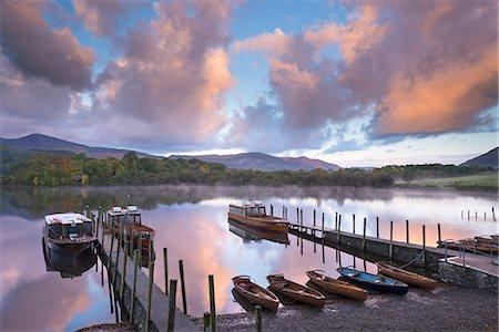 Boats on Derwent Water at sunrise, Keswick, Lake District National Park, Cumbria, England, United Kingdom, Europe Stock Photo - Rights-Managed, Code: 841-06501348