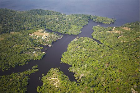 Aerial view of Amazon rainforest and Rio Negro, Manaus, Amazonas, Brazil, South America Stock Photo - Rights-Managed, Code: 841-06501437