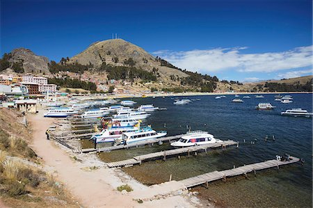 Boats moored in bay, Copacabana, Lake Titicaca, Bolivia, South America Stock Photo - Rights-Managed, Code: 841-06501769