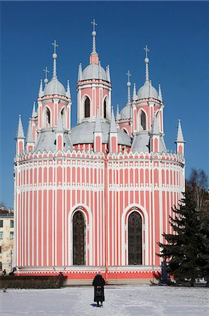 pink - Chesma church, St. Petersburg, Russia, Europe Stock Photo - Rights-Managed, Code: 841-06502219