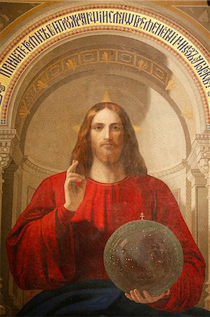 painting - Painting of Jesus, The Iconostasis, St. Issac's Cathedral, St. Petersburg, Russia, Europe Stock Photo - Rights-Managed, Code: 841-06502225
